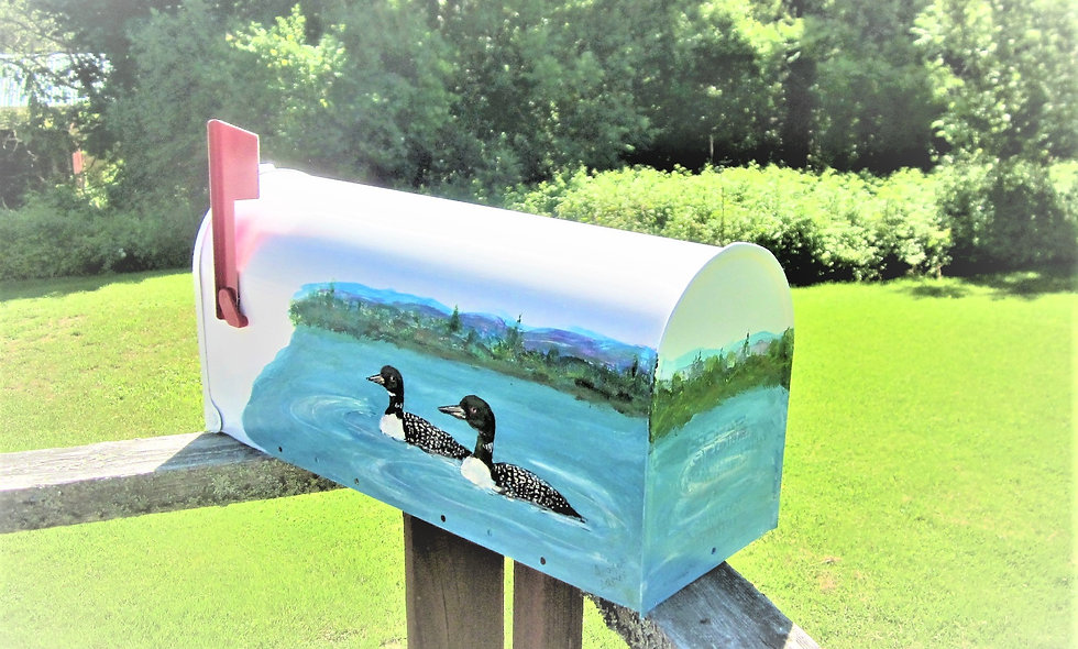 P 107 Hand Painted Mailbox with Loons