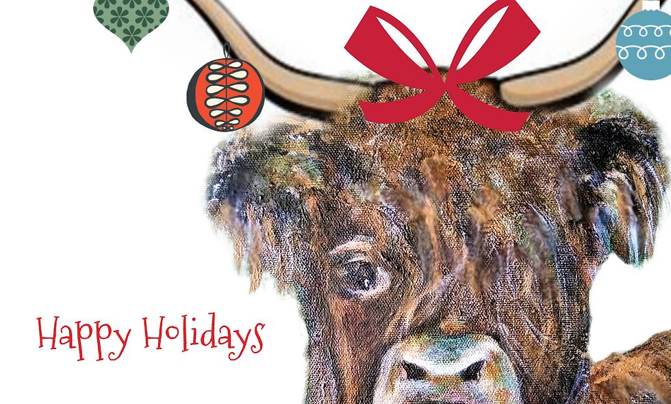 Highland Cow Christmas Card, Holiday Card, Chicken  Christmas  Card