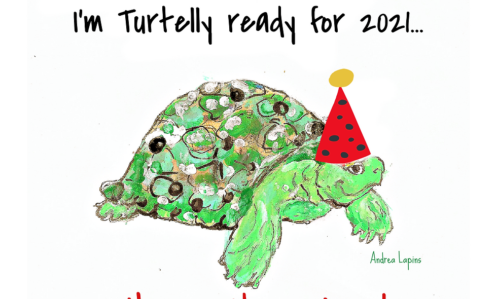 New Years Card, Funny Card, Turtle Card