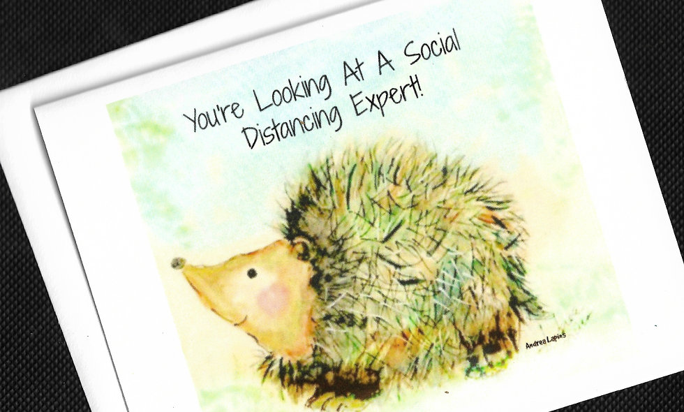Social Distancing Card, Hedgehog/Porcupine Card