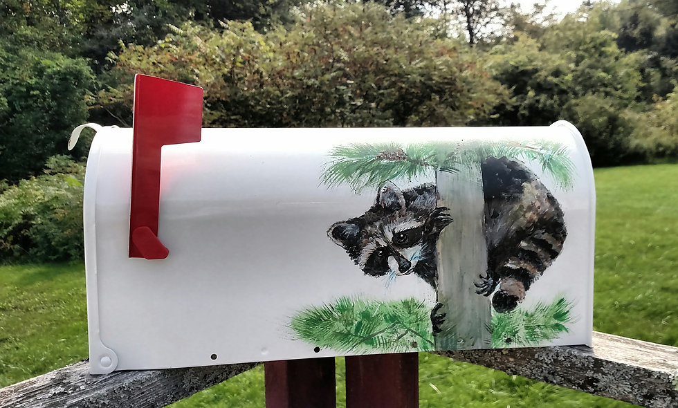 P 102 Hand Painted Mailbox with Raccoons