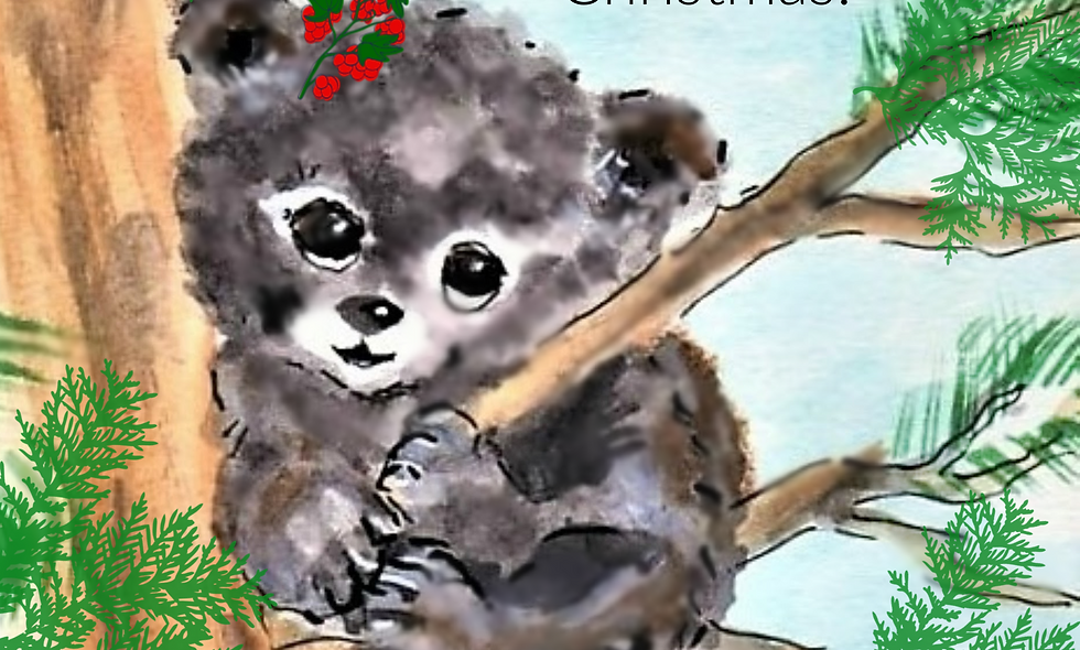 Christmas, Holiday Card, Bear Christmas  Card, Bear Cub Card
