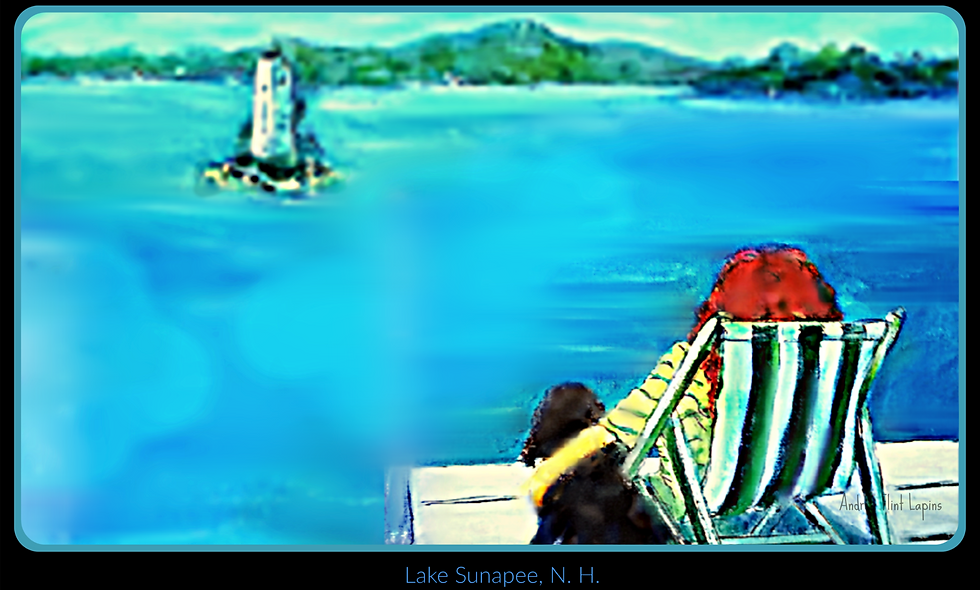 Placemat, Laminated, Original Art Lake Sunapee NH