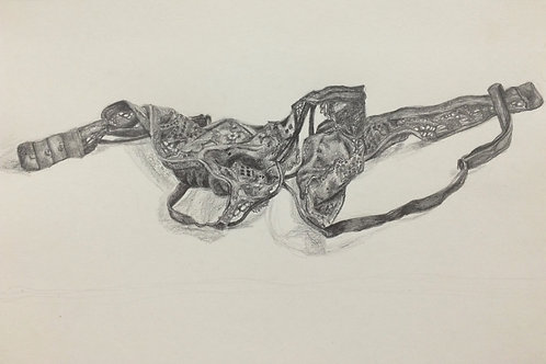 Print - graphite lingerie drawing