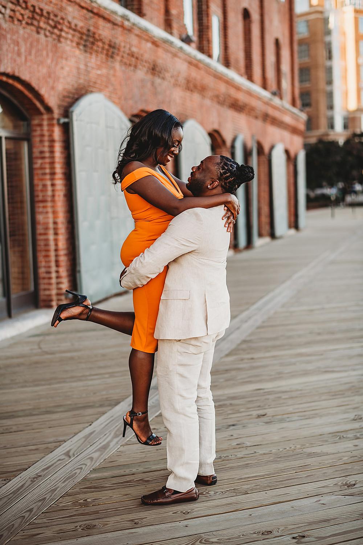 Engaged couple, Fells Point Baltimore, Maryland Wedding Photographer