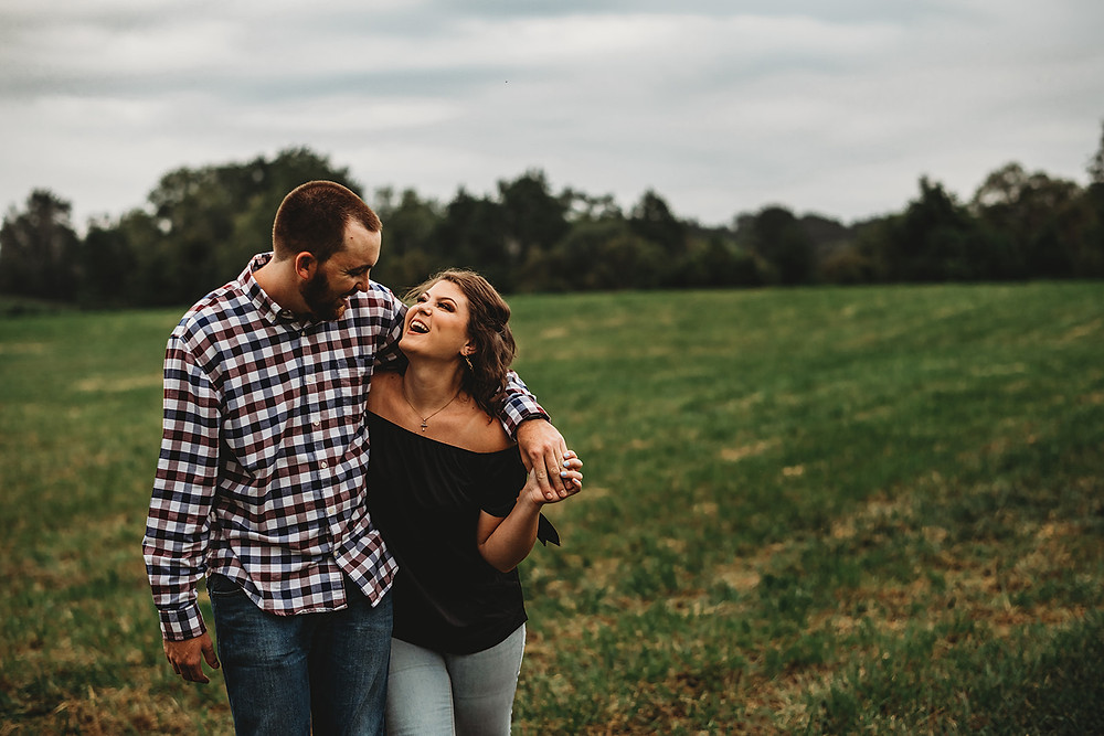 Engaged couple in field, Maryland Wedding Photographer