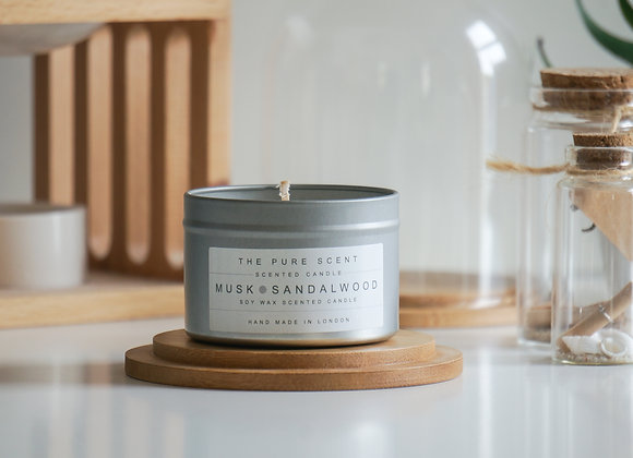 Musk & Sandalwood Candle in a Tin