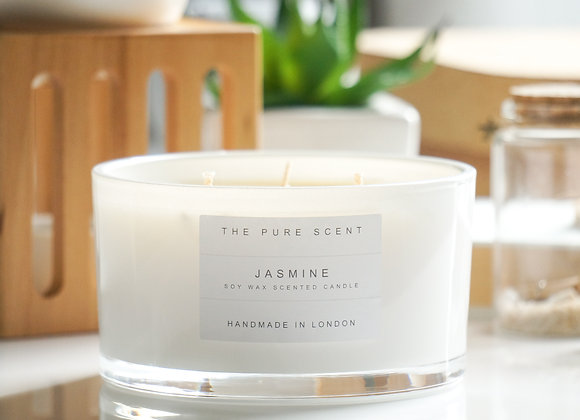 Jasmine Large 3 Wick Soy Candle in a Glass