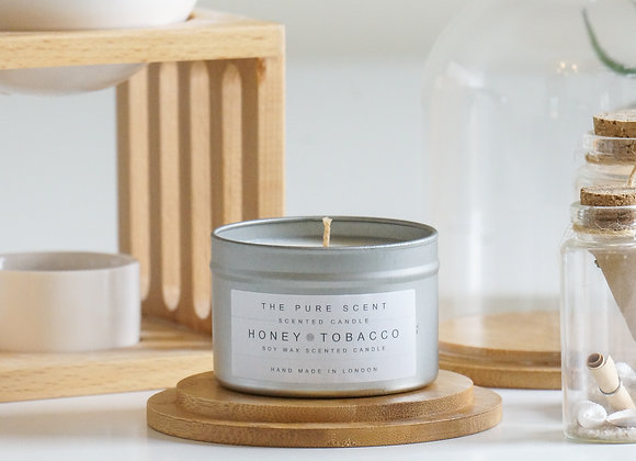 Honey & Tobacco Soy Candle in a Tin