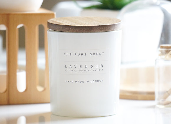 Lavender Soy Candle in a Glass +Wooden Lid + Gift Bag