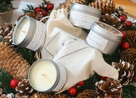 Mini Pure Christmas Soy Candle in a Tin Gift Set
