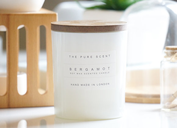 Bergamot Soy Candle in a Glass + Wooden Lid + Gift Bag