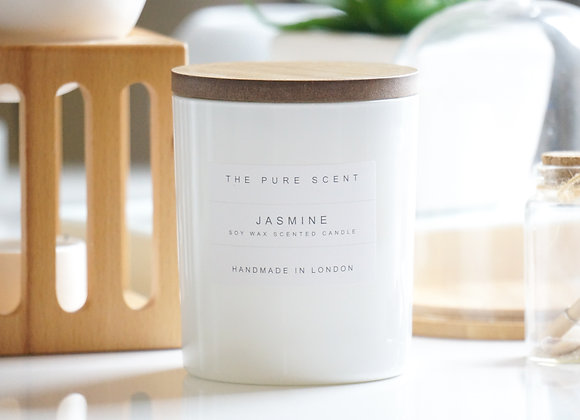Jasmine Soy Candle in a Glass + Wooden Lid + Gift Bag