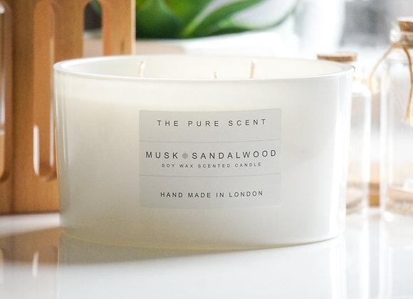 Musk & Sandalwood Large 3 Wick Soy Candle