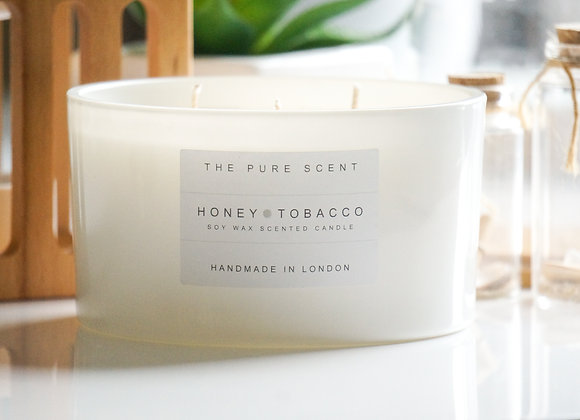 Honey & Tobacco Large 3 Wick Soy Candle