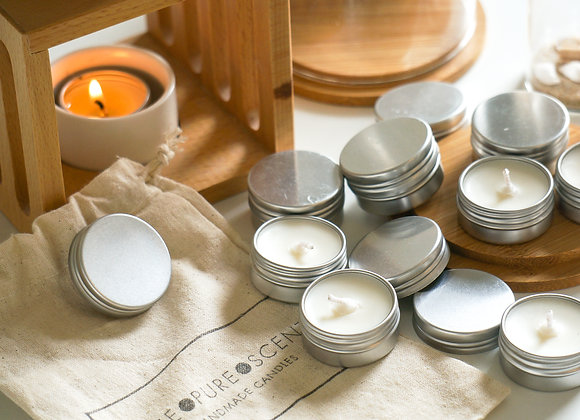 Unscented Soy Wax Tealights in a Tin