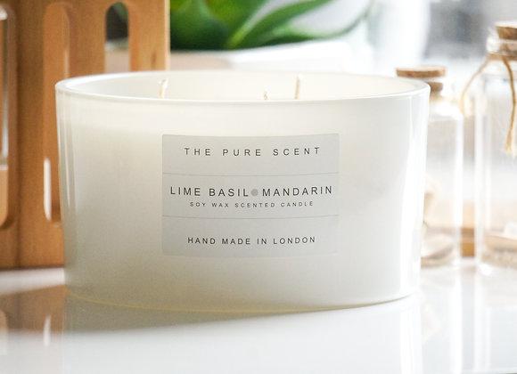 Lime Basil & Mandarin Large 3 Wick Soy Candle