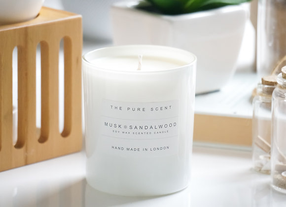Musk & Sandalwood Soy Candle in a Glass
