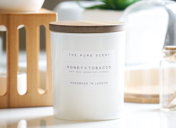 Honey & Tobacco Soy Candle in a Glass + Wooden Lid + Gift Bag