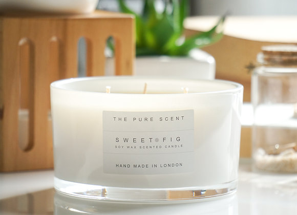 Sweet Fig Large 3 Wick Soy Candle in a Glass
