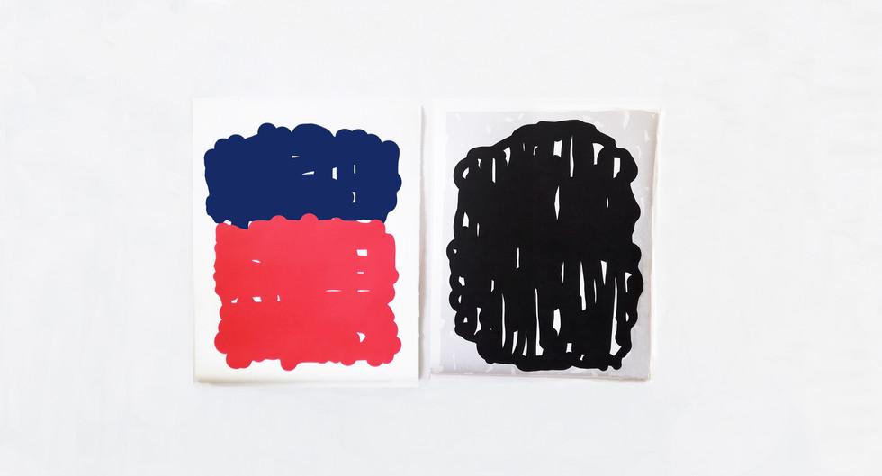 Sans Titre (Marine & Rouge + Noir ) - Olivier ROCHEAU