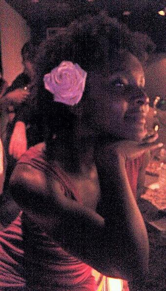 Jamila watching the tango dancers