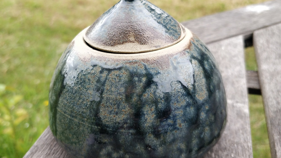 Lidded pot with ash and cobalt glaze