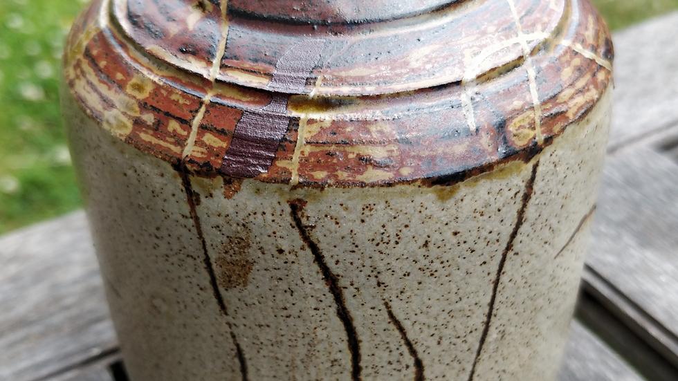 Stoneware jar with terracotta slip and ash glaze