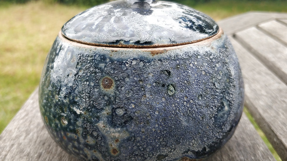 Icy blue ash glazed chunky pot with lid