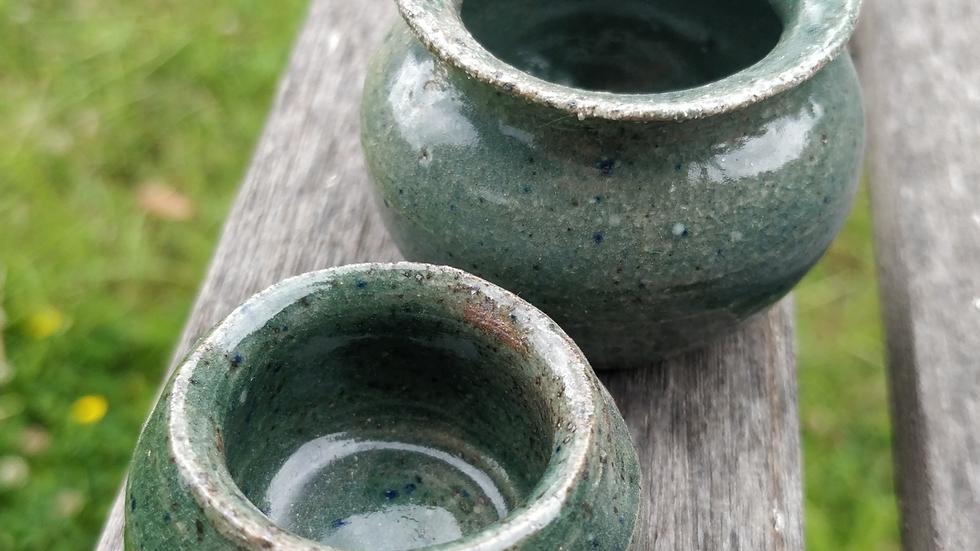 Pair of little green pots