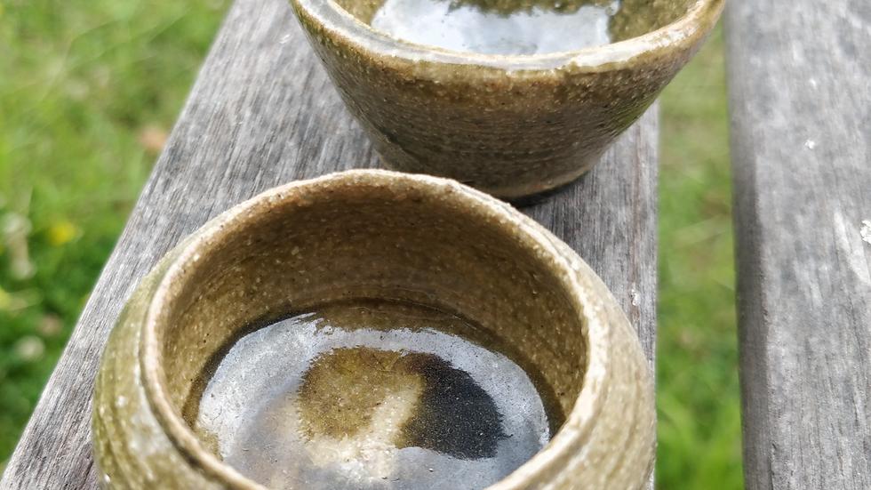 Pair of tiny ash glazed bowls