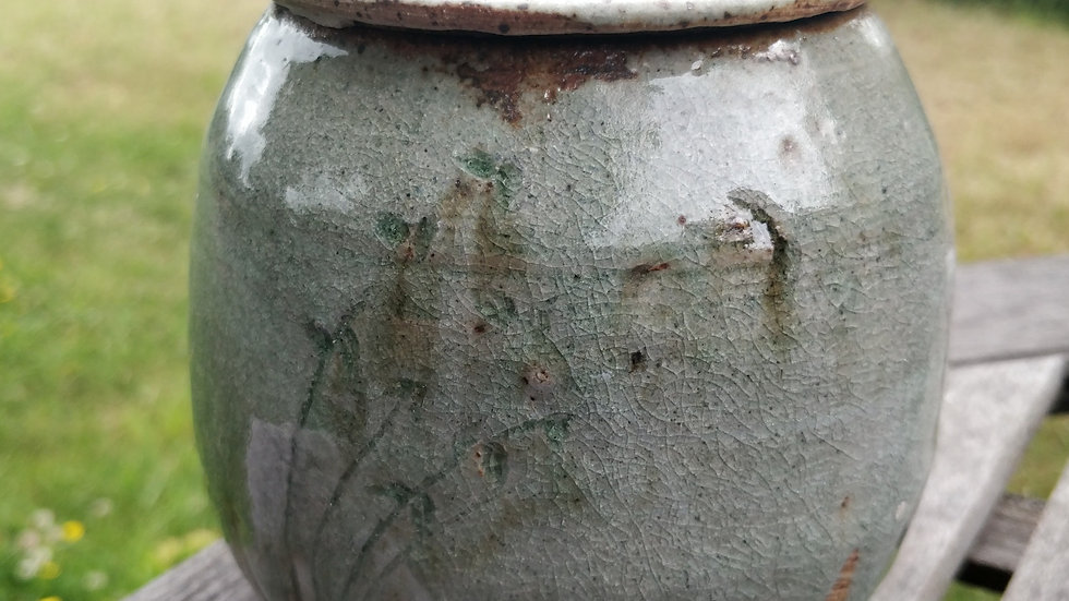 Lidded stoneware jar with apple ash and slip