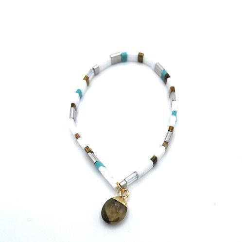 Bracelet SUMMER blanc et pierre quartz