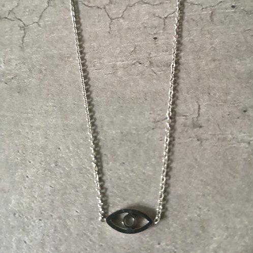 Collier petit oeil en acier argenté