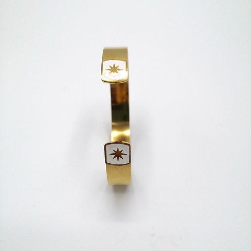 Jonc en acier doré bout carré blanc avec étoile