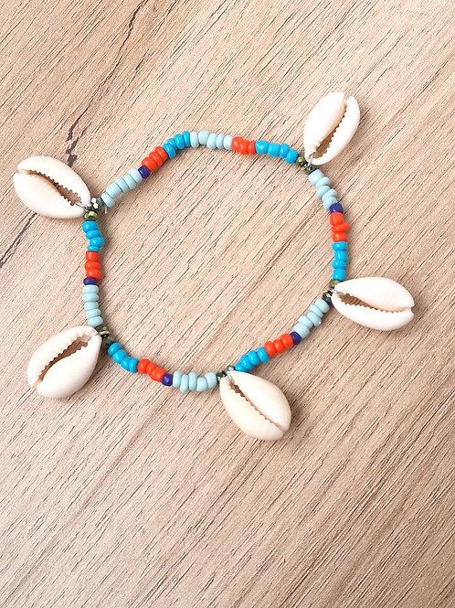 Bracelet Cheville CAURI multicouleurs orangé