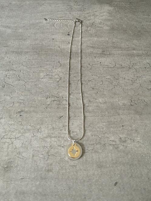 Collier création double plaques acier argenté et étoile dorée