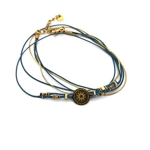Bracelet multi rangs fils bleu