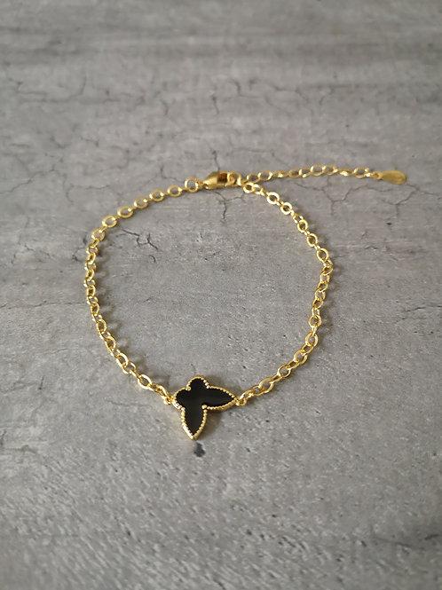 Bracelet chaînette doré et papillon noir