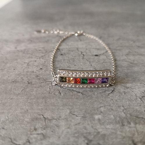 Bracelet chaînette en argent 925 et strass multi couleurs