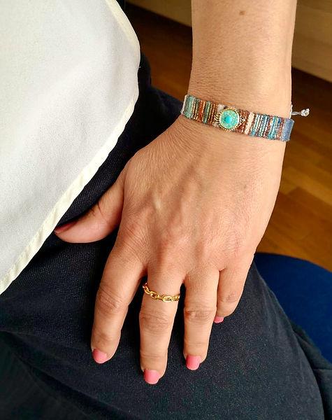 Bracelet brasilia tissu bleu et marron oeil strass bague chainette argent 925 dore chainet