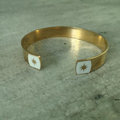 Jonc en acier doré  bout carré gris clair avec étoile