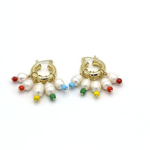 Créoles PERLA  perles d'eau douce et mini perles