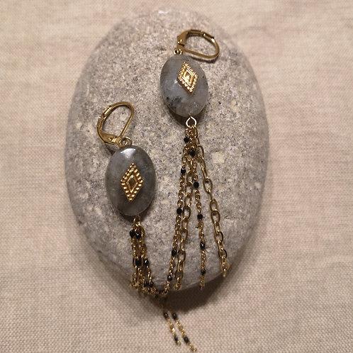 Boucles d'oreille chaînette pendante acier doré et Labradorite