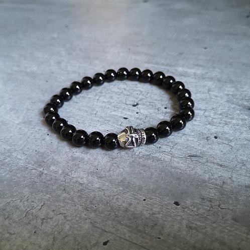 Bracelet pierre Obsidienne et tête de mort en acier