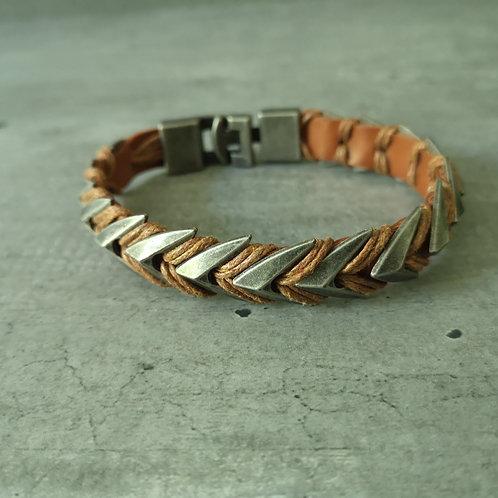 Bracelet cuir camel et métal acier