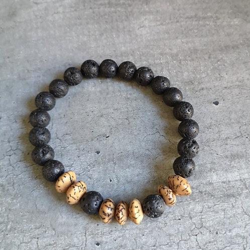 Bracelet pierre de Lave noire et beige