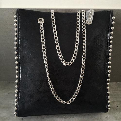 Sac effet cuir à rivet noir, bandoulières chaînes métal Grand Modèle