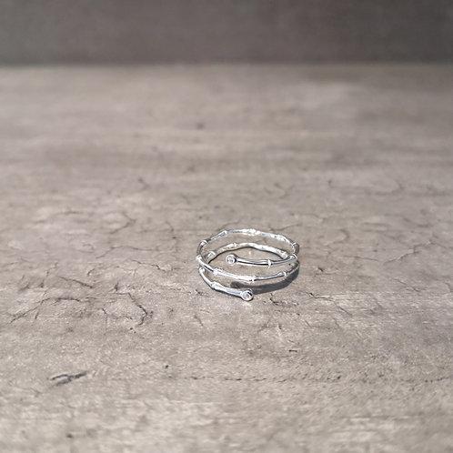 Bague anneaux triple rangs argent 925 et strass