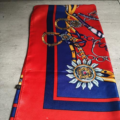 Foulard en soie à motif, marine et rouge